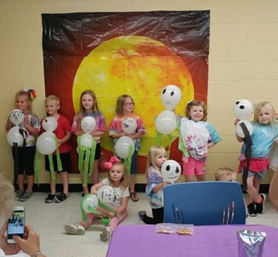 Our afternoon camp found aliens lurking in the library.